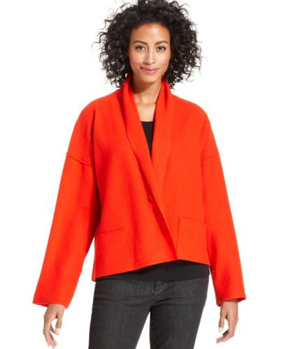 Eileen Fisher Sweater Long Sleeve Kimono Cropped Wool Cardigan For