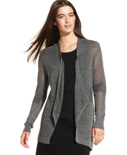 Eileen Fisher Sweater Long Sleeve Metallic Wool Open Front Cardigan