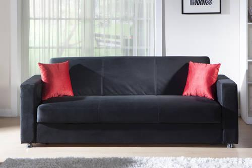 Elegant Black Microfiber Sectional Sofa Bed By Istikbal