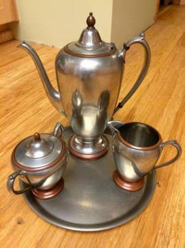 Elegant Pewter Coffee Pot  Serving Set