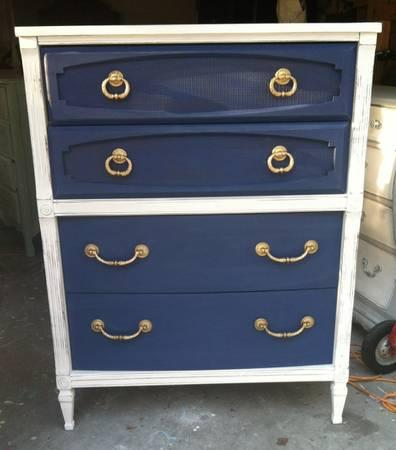 Elegant white and navy chest of drawers - $165