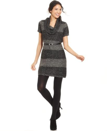 Elementz Metallic Stripe Cowl Neck Sweater Dress For Sale