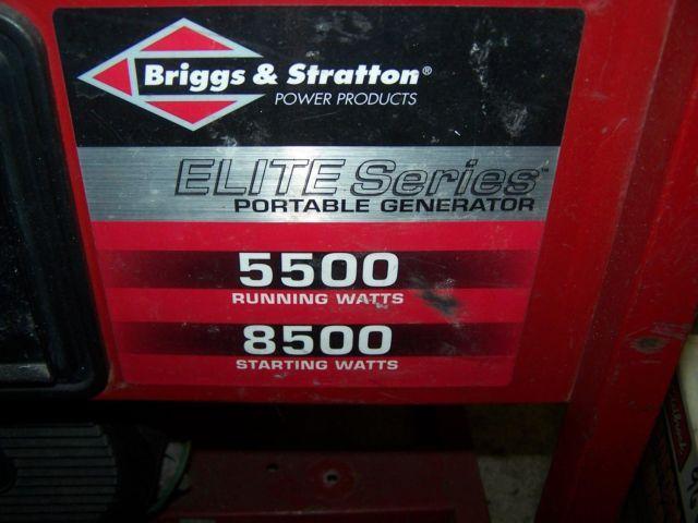 ELITE PORTABLE GENERATOR 5500 WATT 10 HP by BRIGGSSTRATTON PRODUCTS