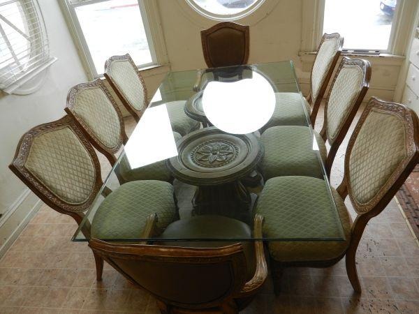 EMPIRE II DOUBLE PEDESTAL GLASS DINING TABLE W/8 CHAIRS BY ...
