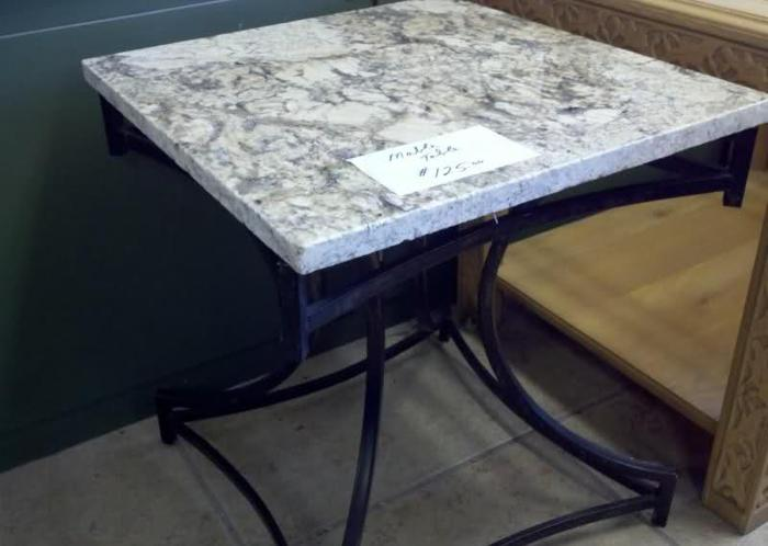 End Table Wrought Iron with MARBLE top Sarasota Swift