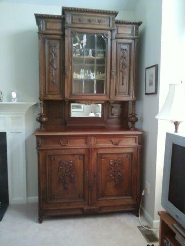 English Oak Cabinet Cupboard Bar 2 Pieces W Glass Door