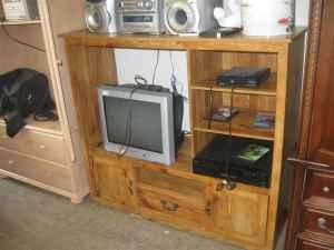 ENTERTAINMENT CABINET SOLID WOOD - $35 (UNCLE RICHARD'S