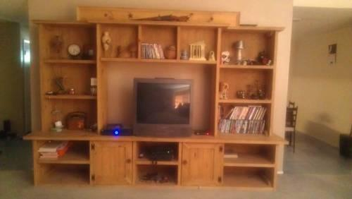 Entertainment Center Solid Wood Oak Color For Sale In
