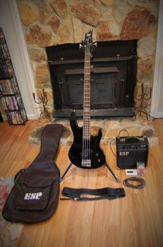 ESP Black Bass Guitar with Amp, Gig Bag, Tuner, Leather