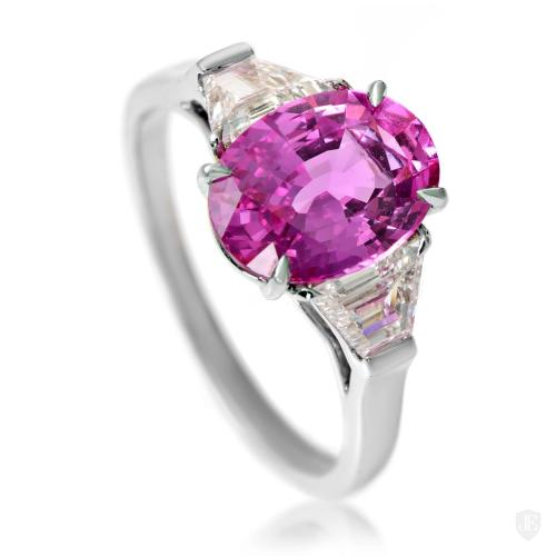 Estate Bvlgari Platinum Pink Sapphire & Diamond Ring