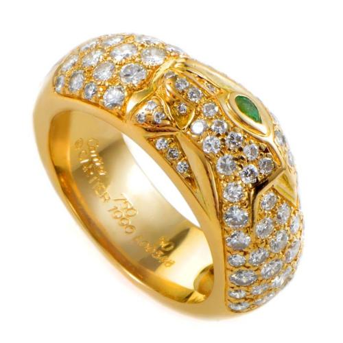 Estate Cartier Panthere 18K Yellow Gold Diamond Pave