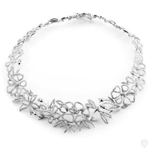 Estate Gucci 18K White Gold Diamond Floral Choker