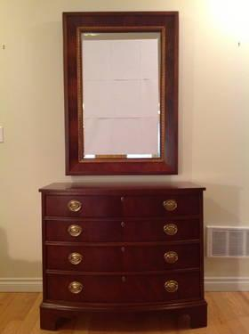 Ethan Allen 18th Century Mahogany Chest And Mirror For