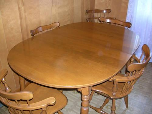 ethan allen solid maple dining room table and six chairs for sale in
