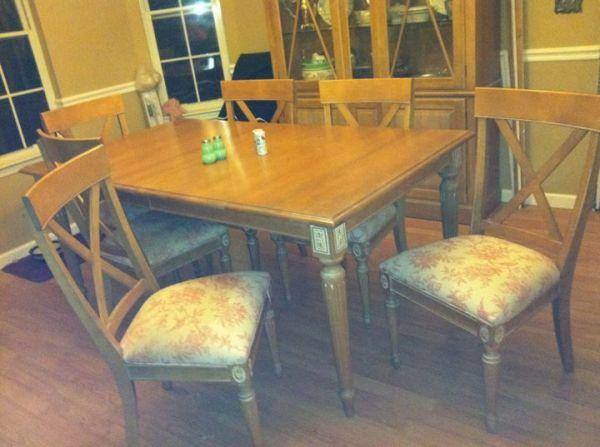 Ethan Allen swedish home dining room table and 6 chairs