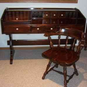 Ethan Allen Pedestal Desk & Swivel Chair - $275 (South Haven) for ...