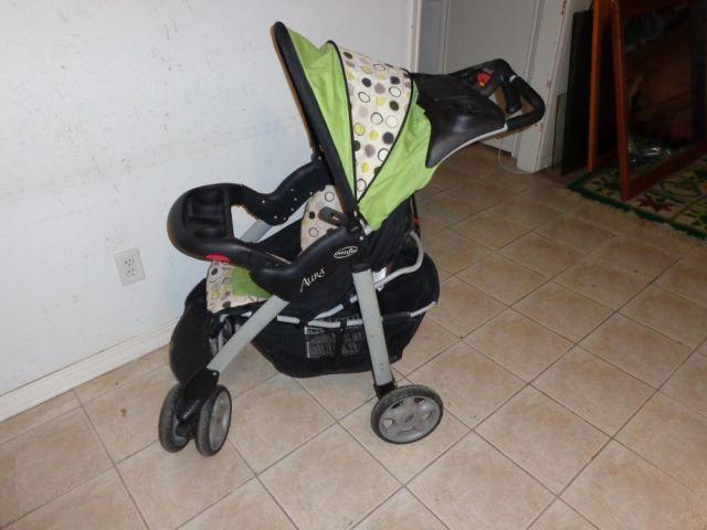 Evenflo Aura Baby Stroller Select black & green Car Seat ...