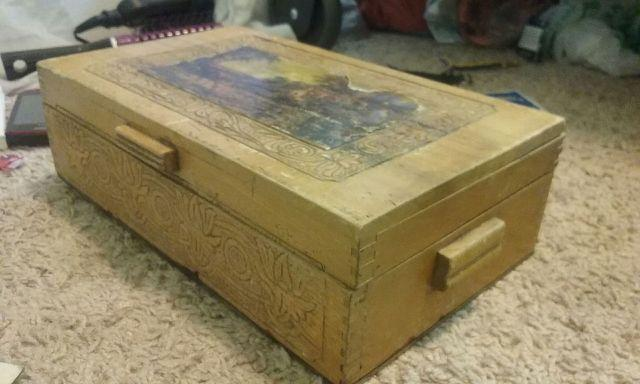 Extremely Old Carved Wooden Box With Lots Of Old Stuff