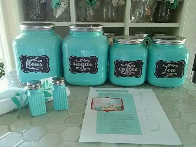 Farmhouse Kitchen Cracker Jar Handpainted Canister Set
