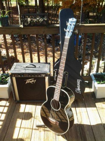 Fender BG-31 Acoustic Bass Guitar, Ibanez Hard Case, and Peavey Amp
