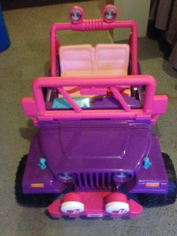 Fisher-Price Power Wheels Pink Barbie Jammin Jeep Ride-On
