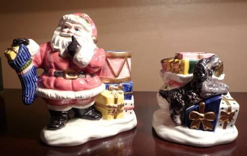 Fitz  Floyd- Omnibus- 1996 Santa w Toy Bag Candle Holders