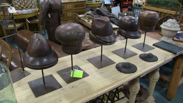 Five Antique Hat Molds On Stands