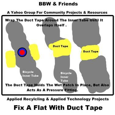 Fix A Flat Bicycle Inner Tube With Duct Tape. (