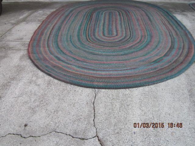 Flat braided oval Rug and runner. Large rug is 9 6 x 13 6.
