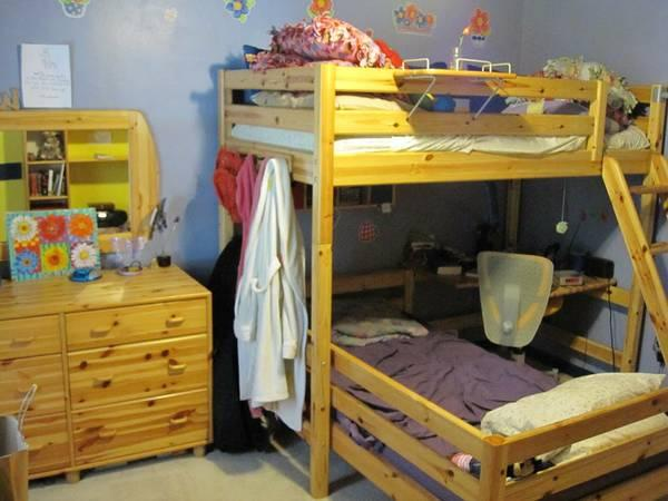 Flexa high sleeper and bunk bed with play area study nook for Kids bed with play area