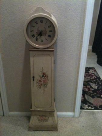 Attrayant Floor CLOCK Storage Hand Painted Roses Shabby Chic