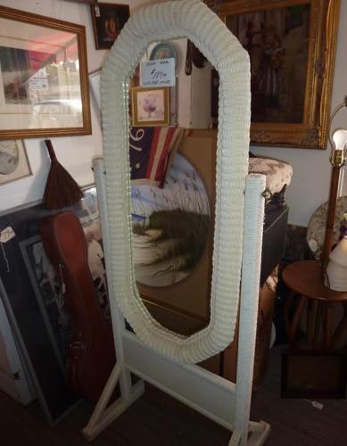 Floor standing Mirror, full length / White WICKER - (SARASOTA, SWIFT ...