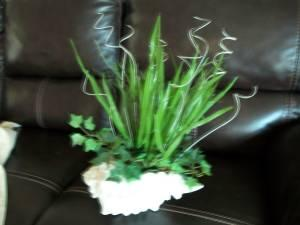 FLORAL ARRANGEMENT - GREENERY IN WHITE SHELL - $10