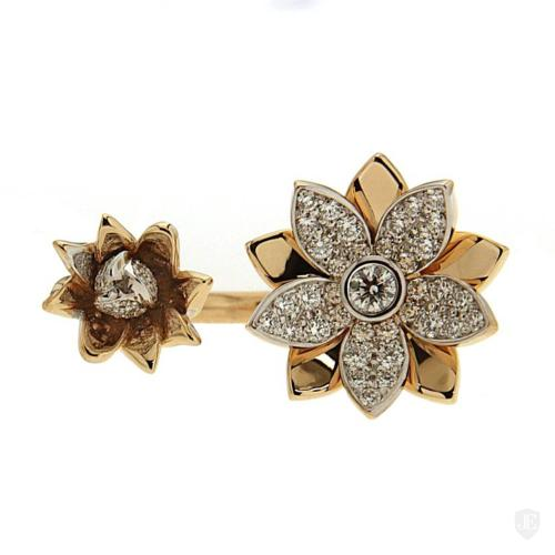 Floral Between the Finger Ring with Diamonds