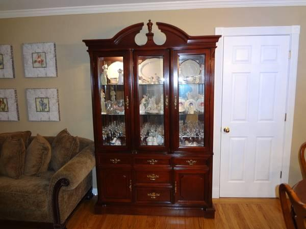 Formal Cherry Wood Dining Table China Cabinet Chairs By
