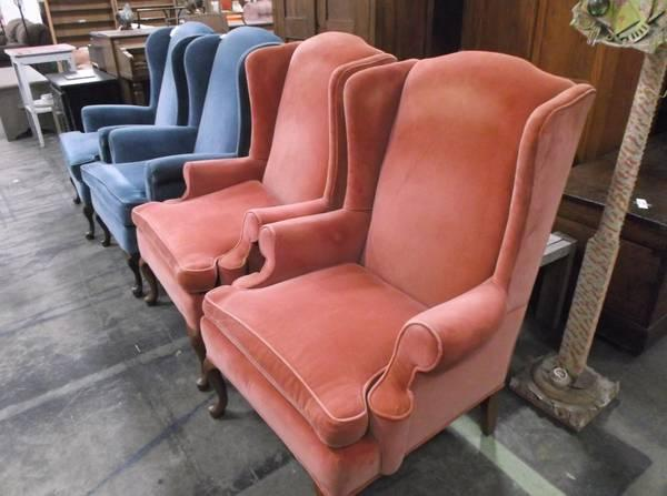 Four Corresponding Wingback Chairs Two Orange Two Fish Tinted For Sale In Asheville North