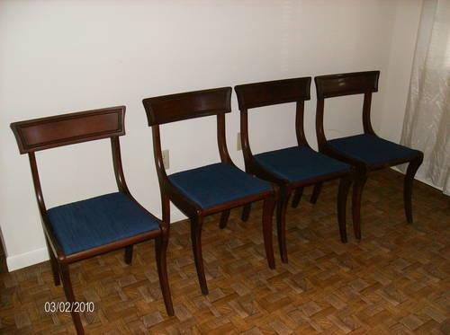 Four Dinng Room Chairs/ Late 1950's / Blue Cloth