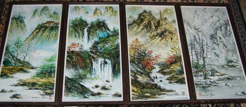 Four Original Vintage Chen Mao Oil Paintings Quot The Four