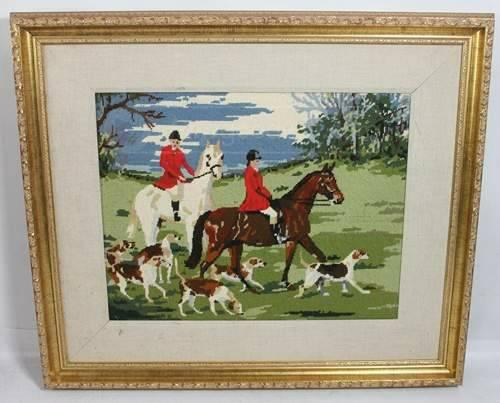Framed Fabric Art - Equestrian fox hunting NEEDLEPOINT for Sale in ...