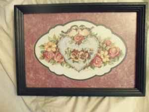 Framed Lovebirds Picture By Home Interior Gifts