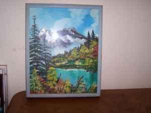 Framed Snow Capped Mountain Oil Painting - (Clarksville) for