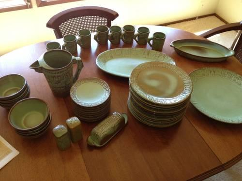 Frankoma Prairie Green Maya Aztec Dinnerware & Frankoma Prairie Green Maya Aztec Dinnerware for Sale in Boston ...