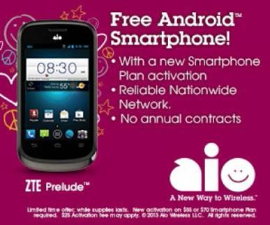 FREE Android Smartphone - ZTE Prelude. . .Aio Wireless.