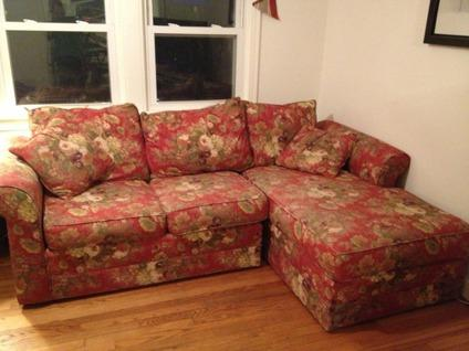 Free Free Red Floral Couch With Chaise Lounge For Sale In