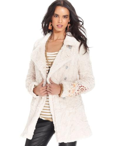 Free People Coat, Faux-Fur Embroidered Swing for sale in Dallas, Texas