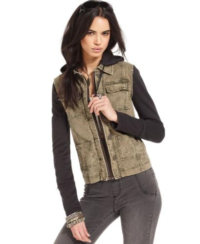 Free People Jacket, Long-Sleeve Hooded Twill