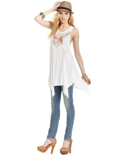 Free People Top, Sleeveless Scoop-Neck Lace Floral Tank