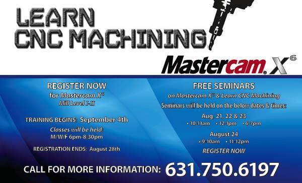 Free Seminars : Learn CNC Mill / Lathe , MasterCam X6