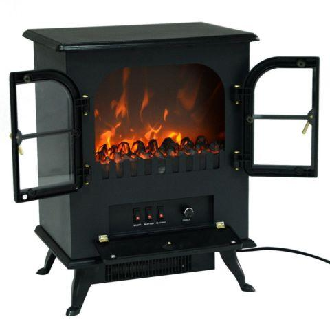 Free Standing Electric 1500W Fireplace Heater Fire Wood