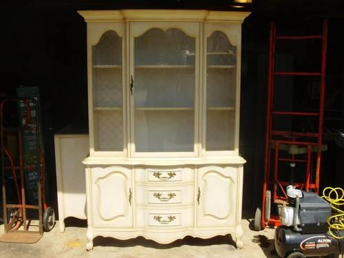 French Provincial Breakfront Buffet Hutch Dining Table No Chairs
